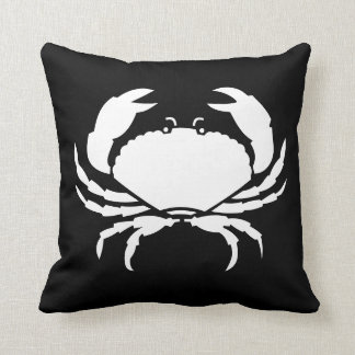 CRAB WHITE on BLACK pillow