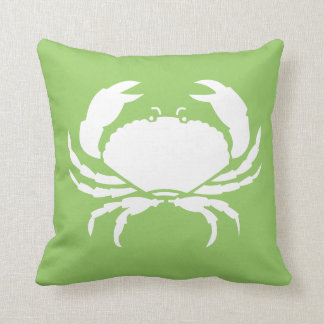 CRAB WHITE on green pillow