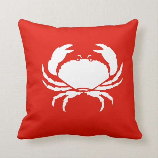 CRAB WHITE on red pillow