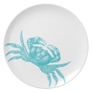 Crab Woodblock Aqua Print Artisan Style Party Plate