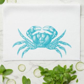 Crab Woodblock Print Artisan Style Aqua Blue Towel