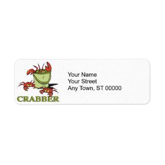 crabber bucket of crabby crabs return address label
