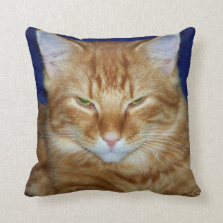 Crabby Cat - Orange Maine Coon Throw Pillow