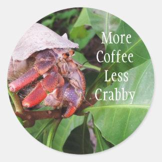 Crabby Coffee Round Sticker