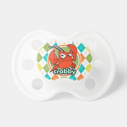 Crabby; Colorful Argyle Pattern Pacifier