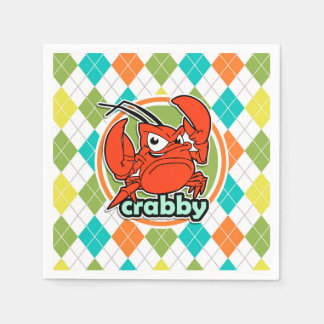 Crabby; Colorful Argyle Pattern Paper Napkins
