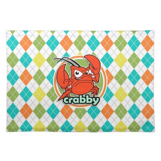 Crabby; Colorful Argyle Pattern Place Mat