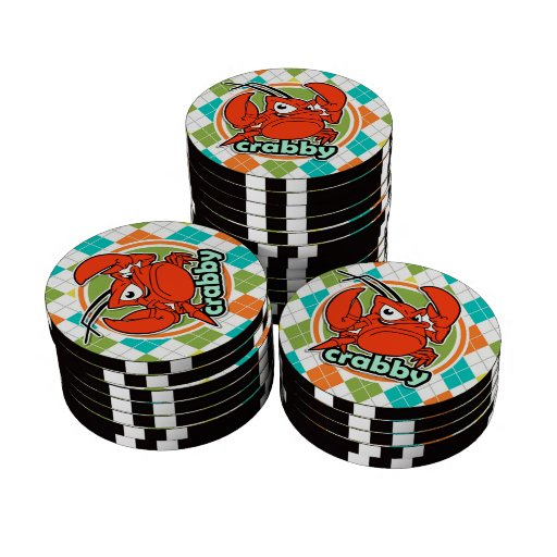 Crabby; Colorful Argyle Pattern Poker Chips