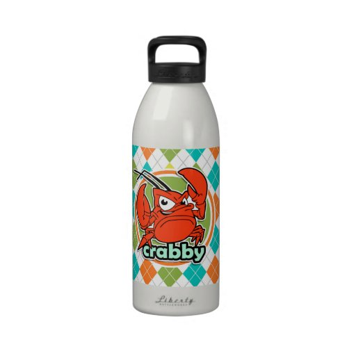 Crabby; Colorful Argyle Pattern Water Bottle