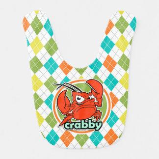 Crabby; Colorful Argyle Pattern Baby Bib