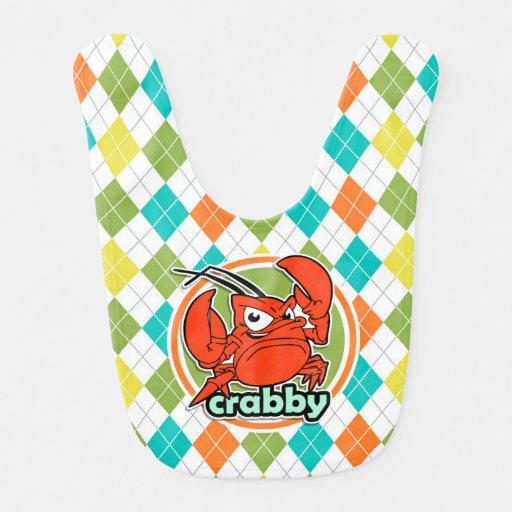 Crabby; Colorful Argyle Pattern Baby Bib