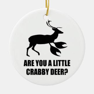 Crabby Deer Round Ceramic Ornament