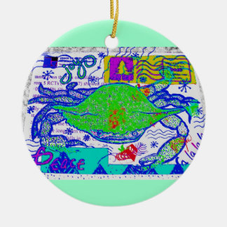 Crabby Holiday Collage Ceramic Ornament