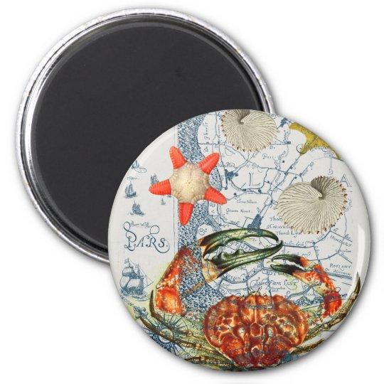 crabby map starfish 2 inch round magnet