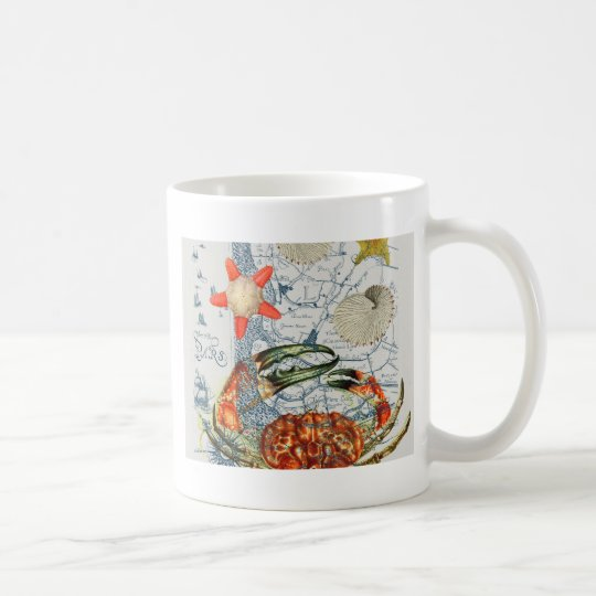 crabby map starfish coffee mug