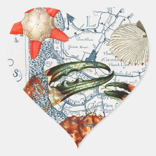 crabby map starfish heart sticker