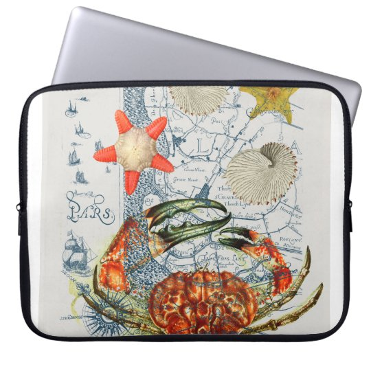 crabby map starfish laptop computer sleeves