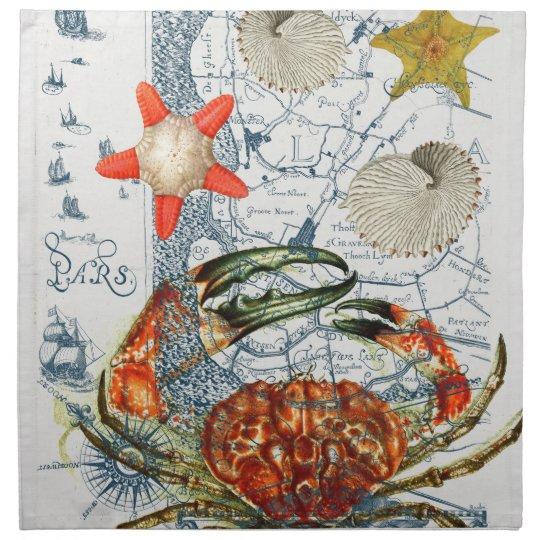 crabby map starfish napkin