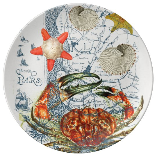 crabby map starfish porcelain plates