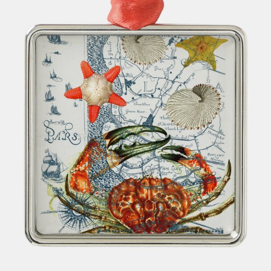 crabby map starfish Silver-Colored square ornament