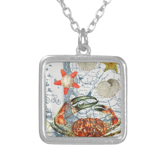 crabby map starfish silver plated necklace