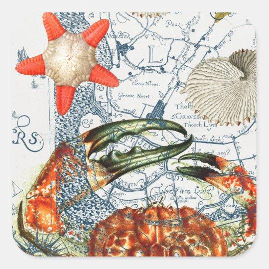 crabby map starfish square sticker