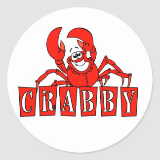 Crabby Tshirts and Gifts Classic Round Sticker