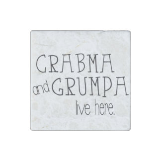 Crabma and Grumpa Live Here Marble Magnet Stone Magnets