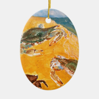 Crabs on the beach ceramic oval ornament