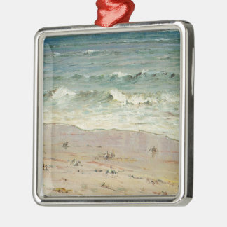Crabs on the Beach - Howard Hitchcock Silver-Colored Square Ornament