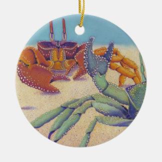 Crabs Round Ceramic Ornament
