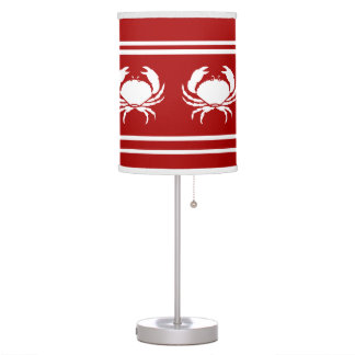 CRABS White on Red Table Lamp