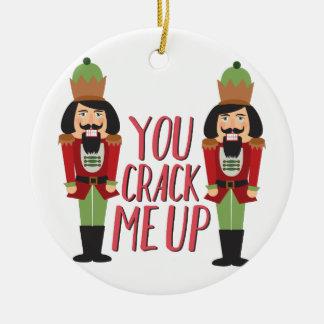 Crack Me Up Round Ceramic Ornament