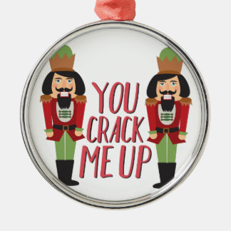 Crack Me Up Silver-Colored Round Ornament