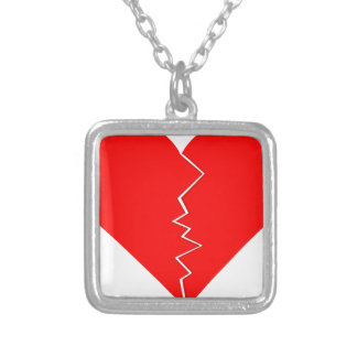Cracked And Broken Heart Silver Plated Necklace