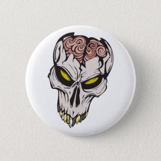 cracked brain skull 2 inch round button