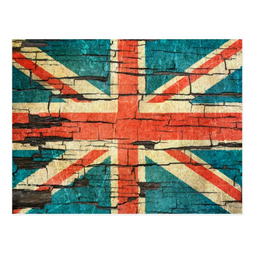 Cracked British Flag Peeling Paint Effect Postcard