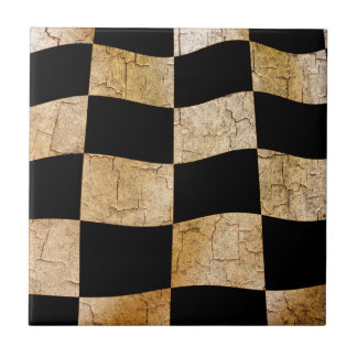 Cracked chequered flag ceramic tiles