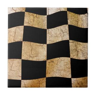 Cracked chequered flag ceramic tiles