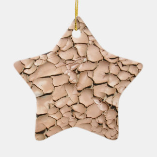 Cracked clay earth texture ceramic star ornament