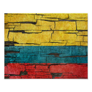 Cracked Colombian Flag Peeling Paint Effect Poster