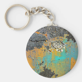 Cracked Concrete Series Basic Round Button Keychain