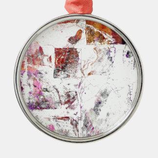 Cracked Concrete Series Silver-Colored Round Ornament