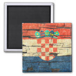 Cracked Croatian Flag Peeling Paint Effect Square Magnet