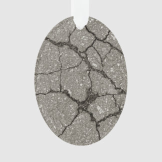 Cracked Grey Asphalt Ornament