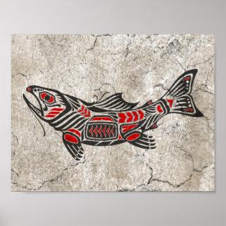 Cracked Haida Spirit Fish Poster