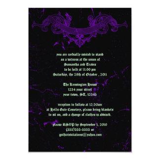Cracked Marble Purple Goth Wedding Invitation