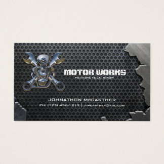 Cracked Metal and Mesh Motorcyle Shop Business Card