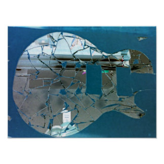 Cracked Mirror Guitar Art Poster