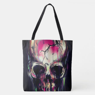 cracked neon skull all over print tote bag